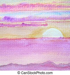 Watercolor Sunset 1 - Abstract macro watercolor background