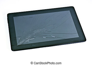 Cracked tablet - a cracked mobile electronic device or...