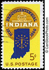 USA - CIRCA 1966 Indiana seal - USA - CIRCA 1966: A Stamp...