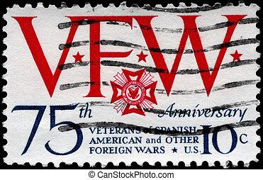USA - CIRCA 1974 VFW Emblem - USA - CIRCA 1974: A Stamp...