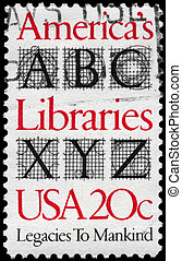 USA - CIRCA 1982 Libraries - USA - CIRCA 1982: A Stamp...