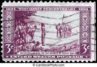 USA - CIRCA 1934 Wisconsin Tercentenary - USA - CIRCA 1934:...