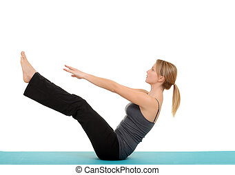 Woman doing Pilates teaser pose with white background