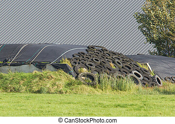 Haylage under plastic and car tires