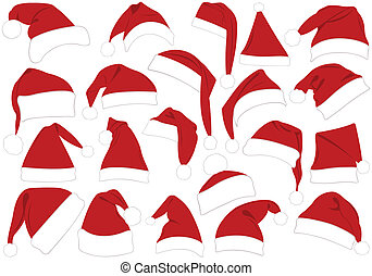 Christmas hats set isolated on white