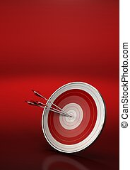 three arrows hitting the center of a red dart, vertical 3d...