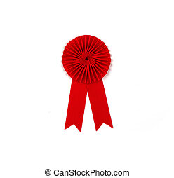 Red award ribbon badge isolated on white background