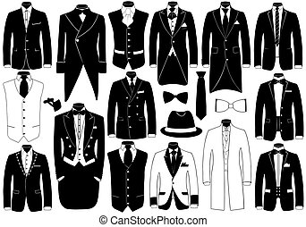 Suits illustration set isolated on white