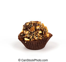 Chocolate cupcake isolated on white background