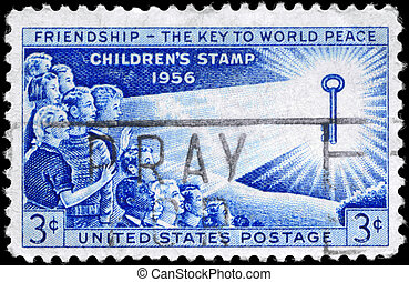 USA - CIRCA 1956 Children - USA - CIRCA 1956: A Stamp...