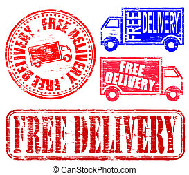 Free Delivery Stamp - Free delivery grungy rubber stamp...
