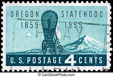 USA - CIRCA 1959 Oregon Statehood - USA - CIRCA 1959: A...