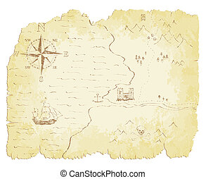 Old Map - Battered and faded old map vector illustration