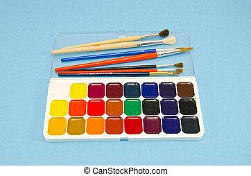 天藍色, 工具, 藝術,  aquarelle, 背景