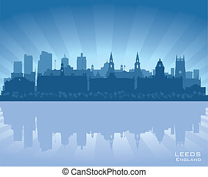Leeds, England skyline with reflection in water