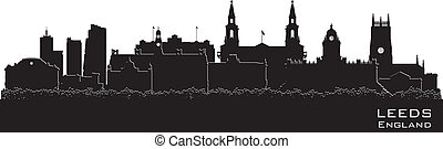 Leeds, England skyline. Detailed vector silhouette