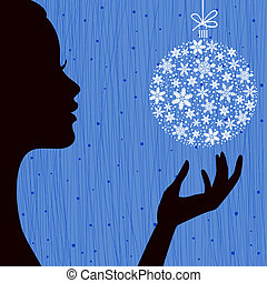 Woman with Snowflake Ball - Christmas Eve Red Color...