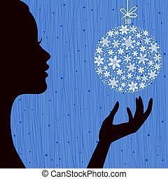 Woman with Snowflake Ball - Christmas Eve Red Color...
