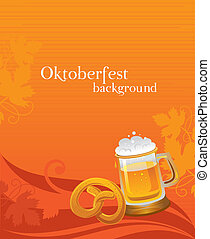Oktoberfest background with beer and pretzel