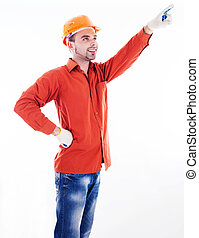 A builder pointing with  his finger