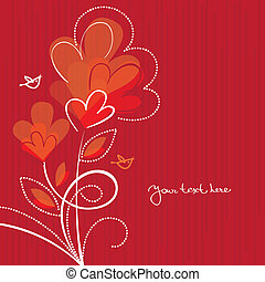 Cartoon background with abstract hearts