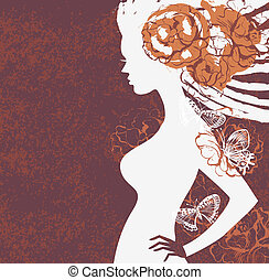 Girl silhouette with flowers