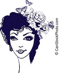 Beautiful woman silhouette with flowers and butterfly in her hair