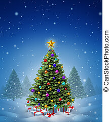 Christmas Winter Tree - Christmas winter tree decorated with...