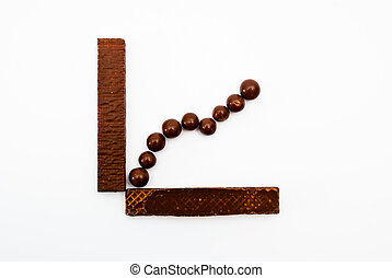 bussines graph with chocolate - business concept with...