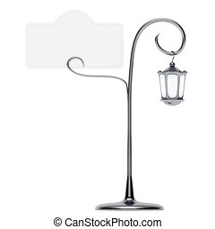 Antique lamp post with card holder isolated - Antique lamp...