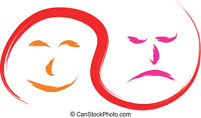 happy and sad faces - face happy and sad abstract vector...