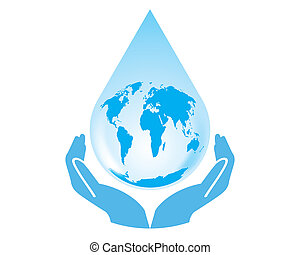 Vector earth water drop with hands