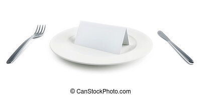 plate with paper card isolated - plate with paper card on...