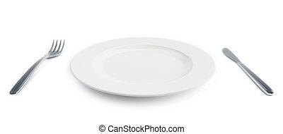 garfo, prato, isolado, vazio, faca