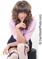 Lovley girl - Sexy girl playing innocent with a finger on...