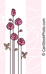 Greeting Card with Cute Pink Stylized Roses and Abstract Light Background. Vector Illustration