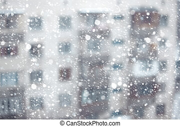 Snowstorm - Abstract photo of the snowstorm and residential...