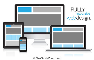Fully responsive web design in electronic devices vector...