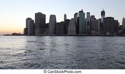 Lower Manhattan at sunset - Lower Manhattan az sunset NYC,...