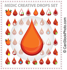 medic creative blood drops symbols and sign