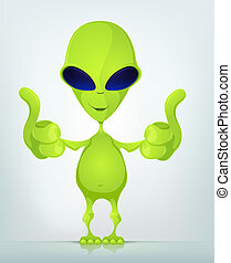 Funny Alien - Cartoon Character Funny Alien Isolated on Grey...