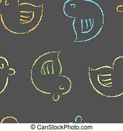 Chalk Board Ducklings - A seamless pattern of chalk stylized...