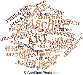 ASCII art - Abstract word cloud for ASCII art with related...