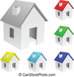 Tiny houses - Vector set of tiny houses with varicolored...