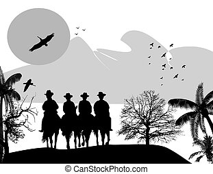 Silhouette cowboys with horses on beautiful landscape,...