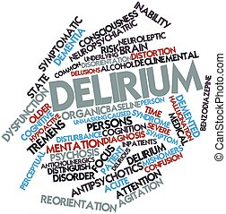 Delirium - Abstract word cloud for Delirium with related...