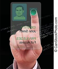 Man entering the door or secure data by touch screen, in black html code background