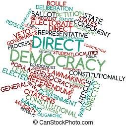 palabra, nube, directo, democracia