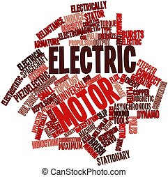 Electric motor - Abstract word cloud for Electric motor with...