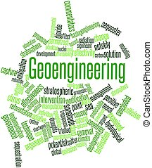 Geoengineering - Abstract word cloud for Geoengineering with...